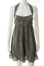 La Rok Taupe Sleeveless Halter Top Full Zipper Ruffled Trim Dress Size Medium