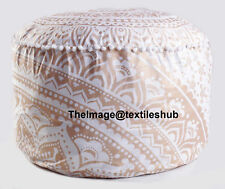 INDIAN WHITE GOLD OMBRE MANDALA OTTOMAN POUFFE FOOT STOOL POUF ROUND FLOOR POUF