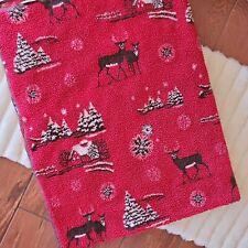 "Woolrich Red Deer Festive Cozy Blanket Throw 48"" x 64"" with Cabin Brown Edging"