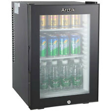 Black Mini Drinks Display Chiller Cooler Bar Fridge Shop Glass Door 40L Hotel