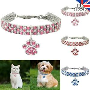 Cat Dog Rhinestone Collar Puppy Kitten Small Pets Cute Necklace With Paw Pendant