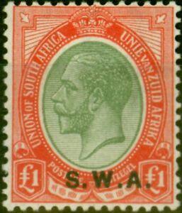 South West Africa 1927 Pale Olive-Green & Red SG57 V.F Lightly Mtd Mint