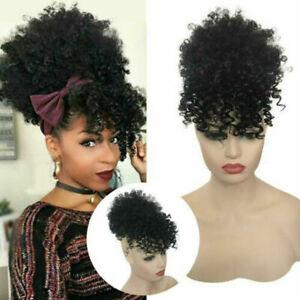 Afro puff high Bun  kinky curly bangs Hair style Extension high Puff Drawstring