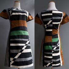 Derek Lam Mod Geometric Graphic Multi Colored Linen Cotton Dress sz XS 2
