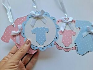 6 x Handmade Baby girl/boy gift tags-thankyou tags-baby shower ,pink/blue tags