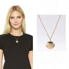 Brass Gift Photo Locket Beach Clam Necklace Jewelry Sea Shell Sweater Chain