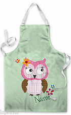 PERSONALISED GREEN CUTE OWL CHILDRENS APRON BAKING PAINTING WATER ARTS & CRAFTS