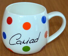"Welsh  ""CARIAD"" design china SPOTTY HUG MUG , Cymru, Wales,"