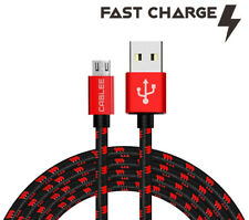 Black/Red Braided 4/6/10ft Micro USB Fast Charger Data Cable for ZTE Cell Phone