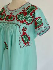 Vintage Mexican Hand Embroidered Dress Aqua Blue Oaxacan Floral Boho S Small