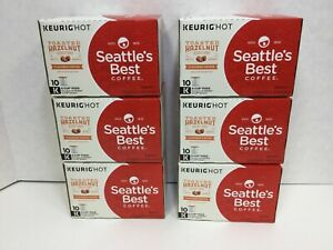 Seattle's Best Coffee Toasted Hazelnut Keurig K-Cups, Case of 6 Boxes, 60 Pods