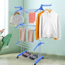 3-Tier Portable Folding Towel Rack Laundry Organizer Clothes Hanger Out/Indoor