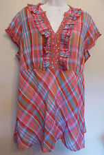 per Una Uk18 Eu46 Us14 Red-mix Check Pattern Cap-sleeved Top With Lace Trim