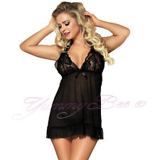 7c9963a012 5055738431713 Yummy Bee Lingerie Babydoll Dress Lace Set Plus - 20 Black