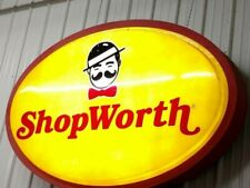HUGE ShopWorth VTG Rare Light Up Advertising Sign Grocery Store Mustache Logo