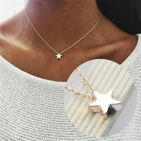 WOMENS LADIES SILVER GOLD TONE SIMPLE STAR CHAIN PENDANT NECKLACE UK SELLER