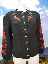 Herrlich schwarze Strickjacke mit Blumenstickerei Trachtenjacke Jacke Gr.44
