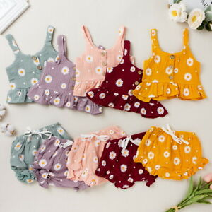 Toddler Baby Girls 2Pcs Floral Clothes Sleeveless Crop Tops Shorts Outfits Set
