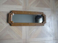 "VINTAGE 1983 HOME INTERIORS WALL MIRROR BAMBOO DESIGN 14"" X 5 1/2"""
