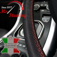 FOR PEUGEOT 307 2001-2008 BLACK LEATHER STEERING WHEEL COVER DARK RED STITCHING