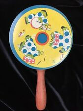 Vintage T. Cohn Tin Litho Noisemaker with Clowns Wood Handle Tin Rattle