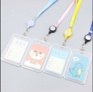 Plastic ID CARD HOLDER POUCH Lanyard Work BADGE Vertical Double Sides
