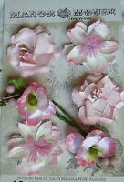 CELESTE Posy PINK 2Toned 2ea 3Styles 6PAPER & SILK Flowers 35-55mm across MHConB