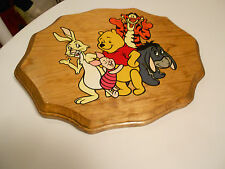 "Winnie The Pooh & Gang Wood Plaque Very Good 11 1/2"" X 9"" X 3/4"""
