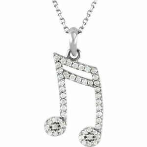 """Diamond Double Sixteenth Note 16"""" Necklace In 14K Gold (1/5 ct. tw"""