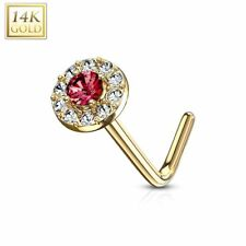 Rod L round gem red Piercing nose Yellow gold 14 carat