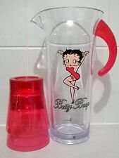 Betty Boop Jug and 2 x Glass Set Sturdy Plastic Red Opaque King Features Syndica