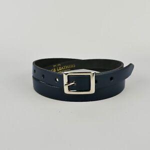"Blue Real Leather Belt Skinny Navy Womens Belt Handmade Bright 3/4"" Ladies 20mm"