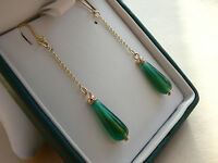 9ct Gold Retro style chain drop earrings with Green Carnelian drops