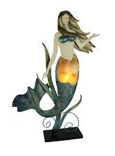 Natural Shell and Metal Art Mermaid Coastal Decor Accent Lamp