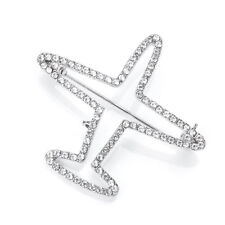 Sparkly White Clear Crystal Silver Brooch pin Aircraft Airplane Jet flight