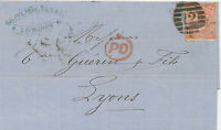 """2427 1862 QV 4d pale red small white letters ('PD') """"12"""" FB LATE FEE to FRANCE"""