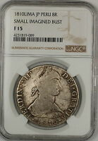 1810-Lima JP Peru Small Imagined Bust 8 Reales Silver Coin NGC F-15