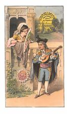 Musician suitor courting lady in a window (Fleischmann Compressed Yeast)