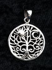 Pendentif Arbre de Vie-soleil-tree of Life-en Argent  925-1.3g-22 mm-W20 10028