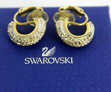 Auth Swarovski Crystal Gold tone Clip on Earrings Ear Ring With original Box