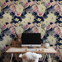 Non-woven wallpaper Dark Floral White & Pink Rose Vintage Flowers Traditional