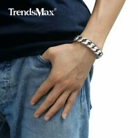 "14mm 9.5"" Men Chain Round Curb Silver Tone Bracelet 316L Stainless Steel Jewelry"