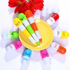 6pcs Cute Emoji Pill Ball Point Telescopic Vitamin Capsule Ballpen Stationery