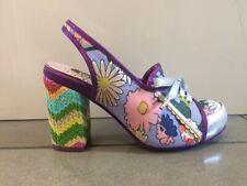 Irregular Choice Tea Cosie (B) Lilac / Silver Floral High Heel Slingback Shoes