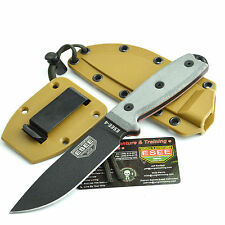 ESEE Knives 1095 Carbon Black Plain Edge Survival Knife Coyote Brown Sheath 4P
