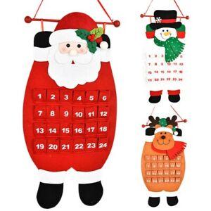 Large Felt Christmas Advent Calendar with Pockets Santa Reindeer Snowman Decor