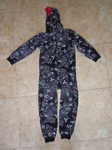 THE CHILDREN'S PLACE boys PAJAMAS pjs one piece hoodie size 7-8 Ninja