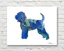 Soft Coated Wheaten Terrier Contemporary Watercolor Art Print by Artist Djr