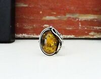 Vintage Sterling Silver 925 Baltic Amber Modernist Nouveau Style Size 7 Ring