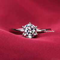 18k White Gold Plated Clear Zirconia Prong Set Solitaire Engagement Ring R49